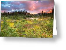 Early Autumn Meadow Sunset At Mt Baker Greeting Card