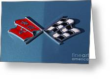 Early C3 Corvette Emblem Blue Greeting Card