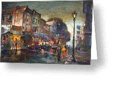 Early Evening In Main Street Nyack Greeting Card