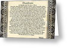 Early Gothic Style Desiderata Greeting Card