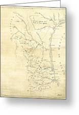 Early Hand-drawn Southern Texas Map C. 1795 Greeting Card