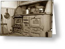 Early Kitchen With A Gas Stove 1920 Greeting Card