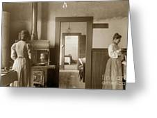 Early Kitchen With A Wood Kitchen Stove Circa 1906 Greeting Card