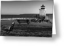 Early Morning At Bug Lighthouse Bw Greeting Card