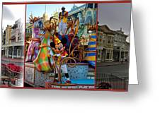 Early Morning Main Street With Mickey Walt Disney World 3 Panel Composite Greeting Card