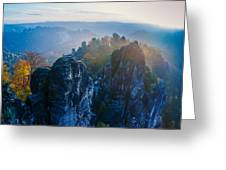 Early Morning Mist At The Bastei In The Saxon Switzerland Greeting Card