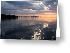 Early Morning Reflections - Lake Ontario And Downtown Toronto Skyline  Greeting Card