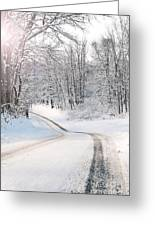 Early Morning Winter Road Greeting Card