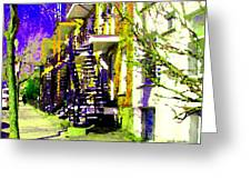 Early Spring Stroll City Streets With Spiral Staircases Art Of Montreal Street Scenes Carole Spandau Greeting Card