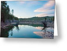 Early Sunset On A Beaver Pond  Greeting Card