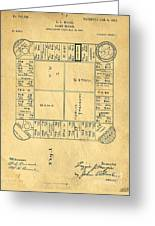 Early Version Of Monopoly Board Game Patent Greeting Card