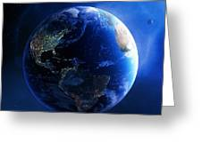Earth And Galaxy With City Lights Greeting Card