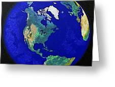 Earth From Space America Greeting Card