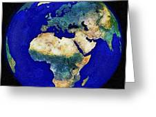 Earth From Space Europe And Africa Greeting Card