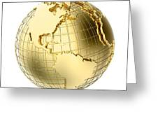 Earth In Gold Metal Isolated On White Greeting Card