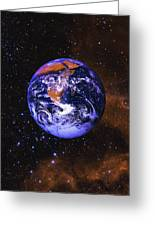 Earth In Space With Gaseous Nebula And Greeting Card