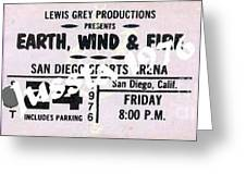 Earth Wind Fire San Diego Sports Arena Ticket September 24 1976 Greeting Card