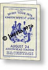 Earth Wind Fire Spirit Tour 1976 Backstage Pass Arrowhead Stadium Greeting Card