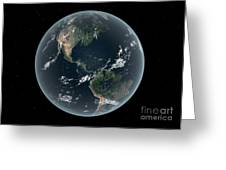 Earths Western Hemisphere With Rise Greeting Card