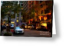 East 44th Street - Rhapsody In Blue And Orange - Close View Greeting Card