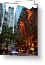 East 44th Street - Rhapsody In Blue And Orange Greeting Card