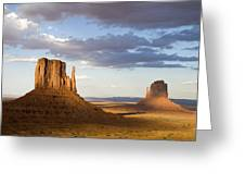 East And West Mittens Monument Valley Greeting Card