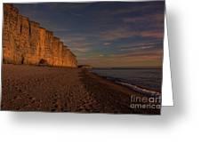 East Cliff Sunset Dorset Greeting Card