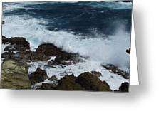 East Coast Of Barbados Rock  Greeting Card