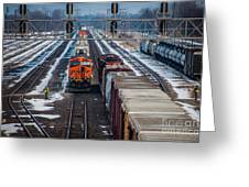 Eastbound And Westbound Trains Greeting Card