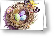 Easter Colors Bird Nest Greeting Card by Irina Sztukowski