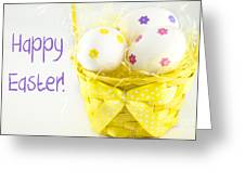 Easter Eggs In Basket Greeting Card