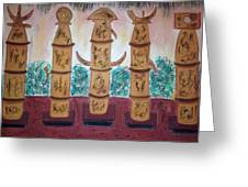 Easter Island Poles Greeting Card