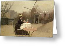 Eating Al Fresco Greeting Card by Ramon Casas i Carbo