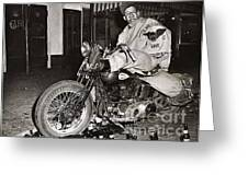 Eddie Davenport Of Tulare California On A Motorcycle Hollister  July 7 1947 Greeting Card