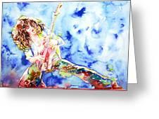 Eddie Van Halen Playing The Guitar.1 Watercolor Portrait Greeting Card
