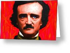 Edgar Allan Poe - Painterly - Square Greeting Card