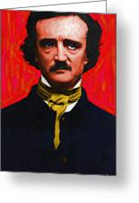 Edgar Allan Poe - Painterly Greeting Card by Wingsdomain Art and Photography