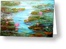 Edge Of The Lily Pond Greeting Card by Barbara Pirkle