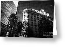 edificio ariztia building reflected in modern bank buildings in the financial district of Santiago Chile Greeting Card
