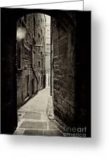 Edinburgh Alley Sepia Greeting Card by Jane Rix