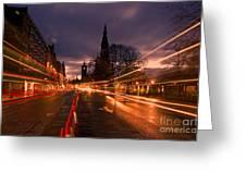 Edinburgh Dawn Fire In The Sky Greeting Card