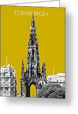 Edinburgh Skyline Scott Monument - Gold Greeting Card