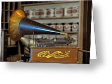 Edison Home Phonograph With Morning Glory Horn Greeting Card