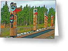 Edward Smarch Totem Poles At Teslin Tlingit Heritage Memorial Center In Teslin-yt Greeting Card