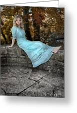 Edwardian Girl On A Stone Wall Greeting Card