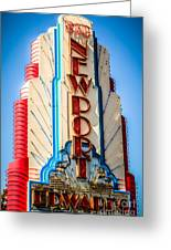 Edwards Big Newport Theatre Sign In Newport Beach Greeting Card