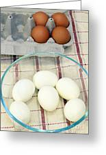 Eggs Boiled And Raw Greeting Card