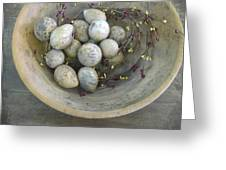 Eggs In A Wooden Bowl Greeting Card