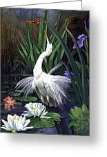 Egret And The Butterfly Greeting Card