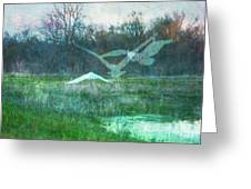 Egret In Retreat Greeting Card
